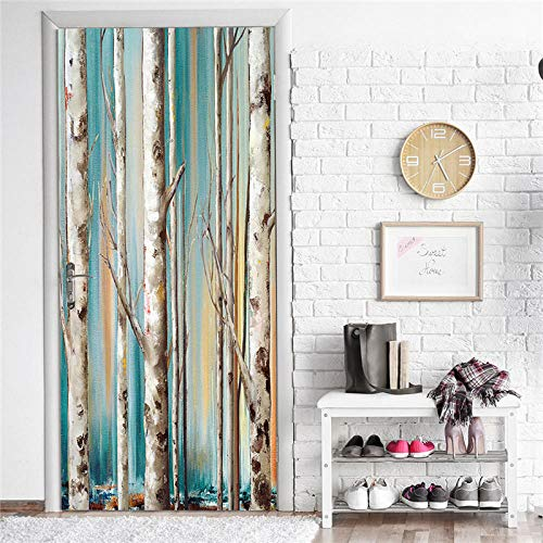 "Bdhnmx 3D Door Murals Peel and Stick Deep Bamboo Forest Home Decor Bonsai Decor Murals Eco-friendly Waterproof Self Adhesive Wallpaper Removable Poster 77x200cm(30.3""X78.7"")"