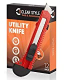 Box Cutters Utility Knife 12 Bulk Pack,18mm Wide Blade Box Cutter by ClearStyle Retractable, Extended Use for Heavy Duty Art, Home (12 Pack Box Cutters)
