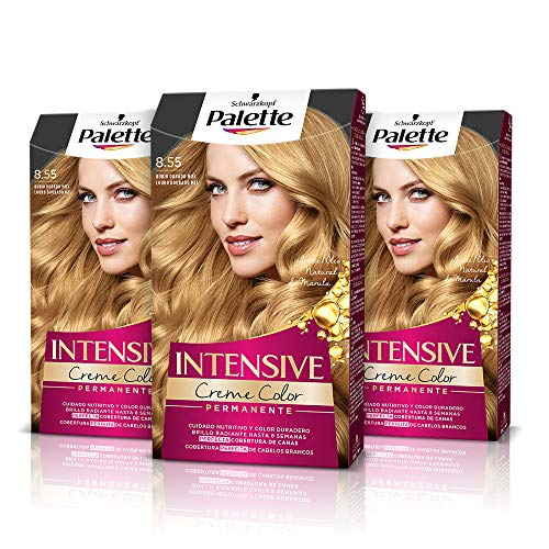 Palette Intense Cream Coloration Intensive Coloración del Cabello 8.55 Rubio Dorado Miel - Pack de 3
