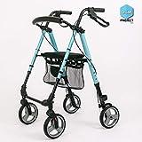 DGM Project   Deambulatore leggero a 4 ruote per anziani, Rollator maneggevole in alluminio verniciato, girello da passeggio molto stabile (BLU)