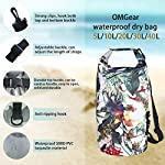 OMGear Waterproof Dry Bag Backpack Waterproof Phone Pouch 40L/30L/20L/10L/5L Floating Dry Sack for Kayaking Boating… 11 HIGHTEST QUALITY THICK MATERIALS,100% WATERPROOF GUARANTEED :OMGear dry bag is made by rugged 500D PVC tarpaulin , vinyl-coated for waterproof protection.Waterproof phone pouch is made by quality ABS+PVC with reinforced entry,which is worth $12 alone.You smart phone can trust our waterproof phone pouch. DOUBLE FLOATABLE ADJUSTABLE EVA BACK STRAPS:Unlike normal dry bags with one nylon shoulder strap,we make two back straps with adjustable buckles,allows for comfortable carrying and fit for most body sizes. The double straps are made by EVA material,which is same material as life vest,so the dry bag is floatable. COMPREHENSIVE USAGE:The dry backpack can float on water after rolled and buckled,,perfect for all outdoors activities,like diving, kayaking, boating, sailing, canoeing,surfing,fishing,rafting ,hiking ,camping, beach activities ect..