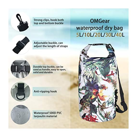 OMGear Waterproof Dry Bag Backpack Waterproof Phone Pouch 40L/30L/20L/10L/5L Floating Dry Sack for Kayaking Boating… 5 HIGHTEST QUALITY THICK MATERIALS,100% WATERPROOF GUARANTEED :OMGear dry bag is made by rugged 500D PVC tarpaulin , vinyl-coated for waterproof protection.Waterproof phone pouch is made by quality ABS+PVC with reinforced entry,which is worth $12 alone.You smart phone can trust our waterproof phone pouch. DOUBLE FLOATABLE ADJUSTABLE EVA BACK STRAPS:Unlike normal dry bags with one nylon shoulder strap,we make two back straps with adjustable buckles,allows for comfortable carrying and fit for most body sizes. The double straps are made by EVA material,which is same material as life vest,so the dry bag is floatable. COMPREHENSIVE USAGE:The dry backpack can float on water after rolled and buckled,,perfect for all outdoors activities,like diving, kayaking, boating, sailing, canoeing,surfing,fishing,rafting ,hiking ,camping, beach activities ect..