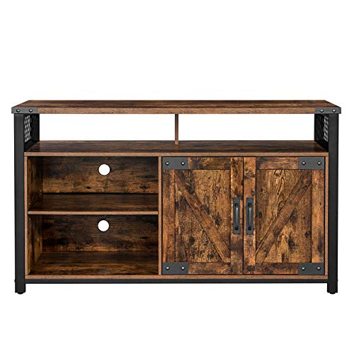 VASAGLE TV Stand for 55-Inch TV with Barn Doors, Entertainment Center and TV Console, TV Cabinet with Adjustable Storage Shelves, Industrial Design, Rustic Brown and Black ULTV047B01