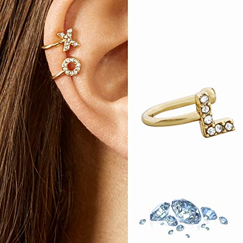Janly Clearance Sale Women Earrings , 26 English Alphabet Ear Clips Personalized Earrings Earrings Gifts , Valentine's Day Birthday Jewelry Gifts for Ladies Girls (L)
