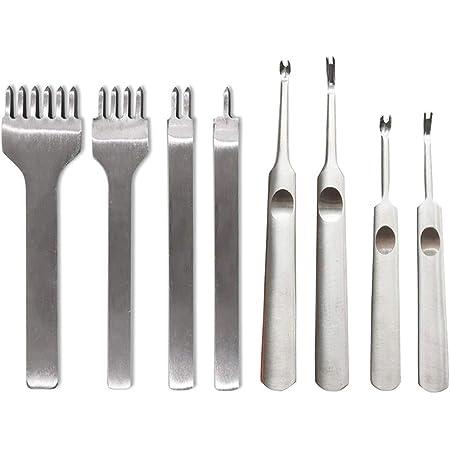 Anyasen Outils Cuir Kit DIY Cuir Outils 4mm Perforatrice Cuir Kit Outils Perforatrice Perforateur Trou pour Artisanat du Cuir, avec Outil de Rainurage en Cuir pour Le Travail de Sculpture Cuir, 8 pcs