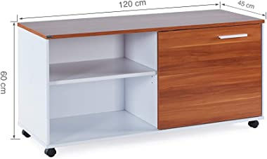 Sunon MDF and Melamine Movable Office File System Cabinet with Adjustable Shelf (Red Apple & White)