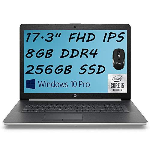 """2020 Premium HP 17 Laptop Computer 17.3"""" FHD IPS Display 10th Gen Intel Quad-Core i5-1035G1 (Beats i7-8550U) 8GB DDR4 256GB SSD DVD Backlit KB WiFi HDMI Win 10 Pro + iCarp Wireless Mouse"""