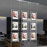 Real Estate Window Hanging Acrylic Photo Frame Advertising Display Office Led Store Sign Holders(Vertical,3pcs A4 a Row)