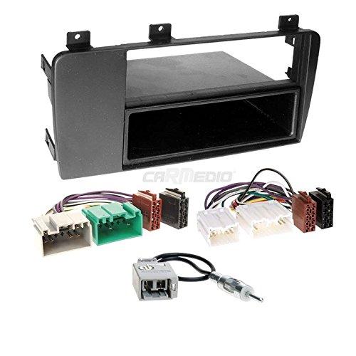Carmedio Volvo S60 04-09 1-DIN Autoradio Einbauset in original Plug&Play Qualität mit Antennenadapter Radioanschlusskabel Zubehör und Radioblende Einbaurahmen schwarz
