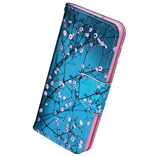 Herbests Kompatibel mit Samsung Galaxy Note 10 Pro Lederhülle Handyhülle Bunt Muster Ledertasche Bookstyle Klapphülle Wallet Flip Case Cover Schutzhülle Magnetverschluss,Pflaume