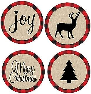 48pack Lumberjack Merry Christmas Joy Deer Tree Assortment Stickers Labels Envelope Decorative Seals -1.5inch