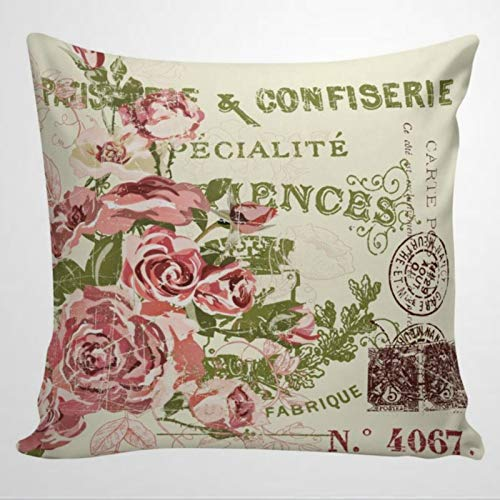 DONL9BAUER Throw Pillow Case French Pillow Vintage Olive Green And Roses French Style Pillow Cover Square Cushion Cover for Home Car Sofa Couch Bedroom Decor, 50x50cm Housewarming Gift