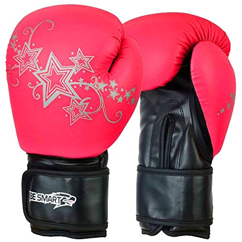 Werden Smart 113,4 g, 6oz, 8oz, 10oz, 12oz Kids Junior Boxhandschuhe Muay Thai Training, Pink with Silver Stars