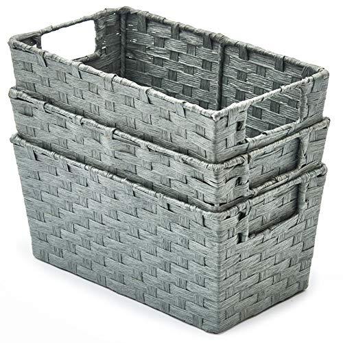 EZOWare 3 pcs Cestas de Almacenaje Multiuso, Cajas Organizadoras de Cuerda de Papel Natural con Efecto de Mimbre y Asas para Cocina, Baño - Gris, 30 x 17 x 14 cm