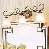 SADASD Lámparas para el espejo del cuarto de baño Unión LED Lámpara frontal de espejo baño Retro aparador americano armario con espejo, Lámpara de Pared, tres (61cm) para enviar la fuente de luz LED