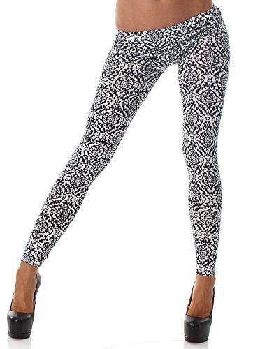 Q.A. Damen Leggings lang in verschiedenen Designvarianten, schwarz weiß Variante 2 Größe 38-42