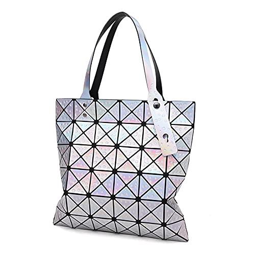 QIANJINGCQ New fashion laser water droplet rhombus geometric trend folding casual handbag wild personality shoulder bag backpack