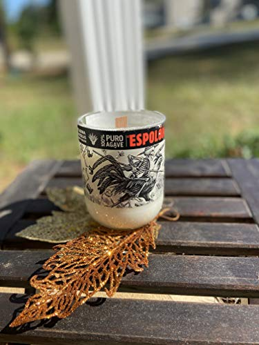 Hand poured soy wax candle with wooden wick in repurposed glass