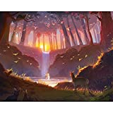 ZXDA Marco de fantasía de Dibujos Animados Pintura de Bricolaje por Kits de números Paisaje acrílico Pintado a Mano Regalo Lienzo Dibujo decoración de la Pared del hogar A9 45x60cm