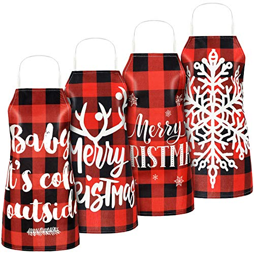 4 Pieces Christmas Buffalo Plaid Aprons, Xmas Adjustable Cooking Aprons with Elk Snowflake Patterns and Words Merry Christmas Buffalo Check Kitchen Baking Apron (Style 3)