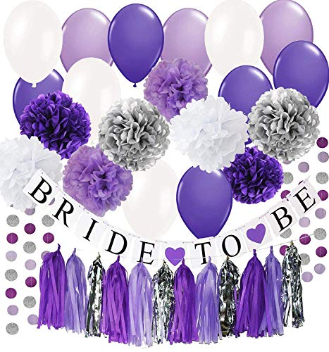 Bridal Shower Decorations Purple White Silver Tissue Pom Pom Bride To Be Banner Purple White Ballons Circle Garland for Bachelorette Party Decorations/Engagement Party/Wedding Shower/Hen Party