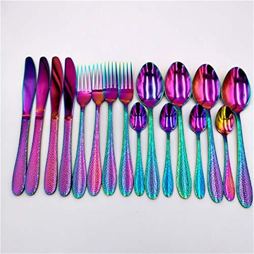 16pcs Golden Forks Spoons Knifes Set Rainbow Cutlery Vajilla Juego 18/10 Acero inoxidable Vajilla Cena Cena Caja de regalo de vacaciones (Color : Rainbow)