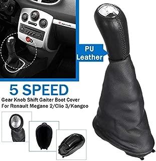 MMKUTZ - Car Gear shift knob For Renault Clio II III 2/3 Megane II 2 Scenic II 2 Kangoo 2009 Gloss Matt Cap With Dust Cover Pu Leather