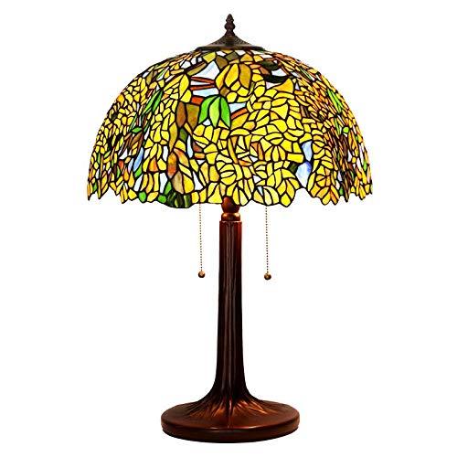 Tiffany Tafellamp, zink basis van gele legering Wisteria glas gemêleerd barok antiek scherm voor woonkamer slaapkamer plank salontafel pagina leesset