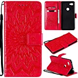 KKEIKO Hülle für Google Pixel 3a XL, PU Leder Brieftasche Schutzhülle Klapphülle, Sun Blumen Design Stoßfest Handyhülle für Google Pixel 3a XL - Rot