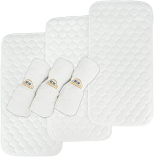 Bamboo Quilted Thicker Waterproof Changing Pad Liners, 6 Count by BlueSnail(White)