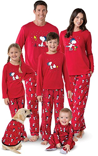 PajamaGram Family Pajamas Matching Sets - Snoopy Pajamas, Red, Pet X-Large