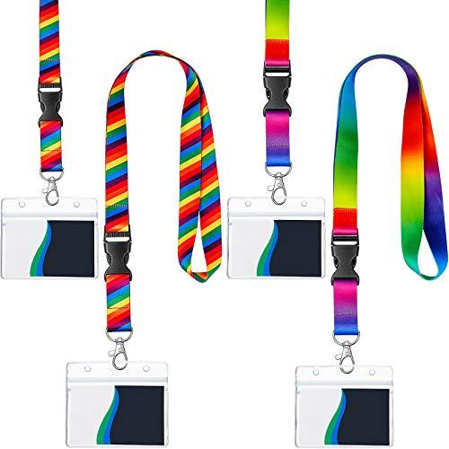 4 Sets de Cordones con Patrón de Arcoíris con Portatarjetas, Correa de Cuello Colorida y Soporte de Placa Transparente de Plástico de Tarjeta Horizontal para Tarjetas de Identificación, 2 diseños