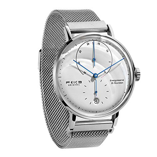 FEICE Herren Analog Uhr Mechanische Automatikwerk mit Gewölbtes Glas Kalender Bauhaus Armbanduhren - FM202 (Silber Edelstahlband)