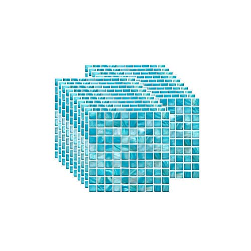 FBBULES 20PCS Fliesenaufkleber PVC, Fliesen Klebefolie Selbstklebend Hitzebeständig Wasserdicht Fliesensticker für Küche Fliesendekor Wandaufkleber Mosaikstil Himmelblau (10 x 10 cm / 4 x 4 Zoll)