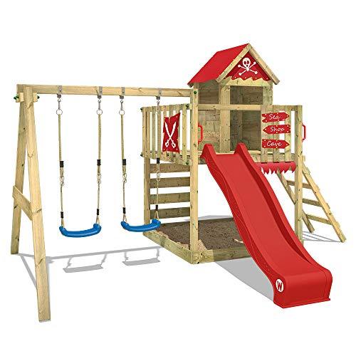 WICKEY Aire de jeux Smart Cave Rouge Tour d'escalade Maisonnette de jeux avec balançoire et toboggan, grand bac à sable et échelle à grimper