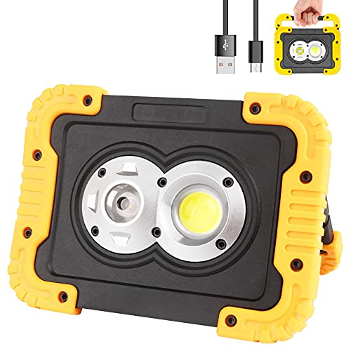 Samyoung Rechargeable LED Work Light, 3000 Lumen Portable Work Light with Spot Light and Flood Light for Job Site Lighting Outdoor Camping Hiking
