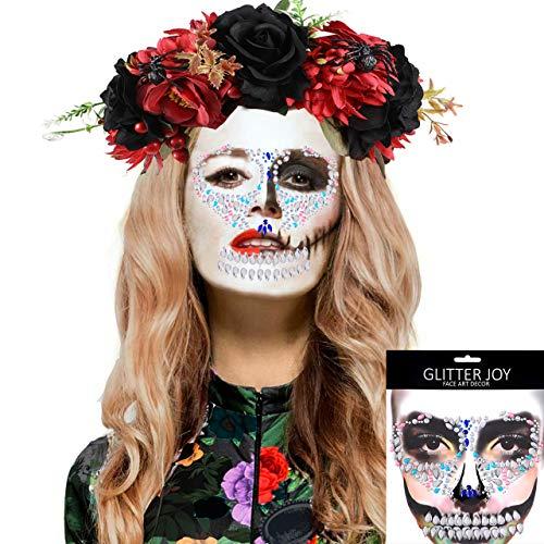 vamei Diadema Flores Catrina Tatuajes Halloween Disfraz de Día de los Muertos Diadema de Flores mexicanas de Halloween Disfraces para Adultos Niños Fiesta de Halloween