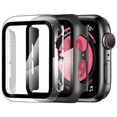 ZXK CO [2 Pezzi Cover per Apple Watch 44mm Series SE/4/5/6, Custodia PC + Pellicola Protettiva AntiGraffio HD, Copertura Completa Protezione Schermo Vetro Temperato Integrata (Trasparente + Nero)