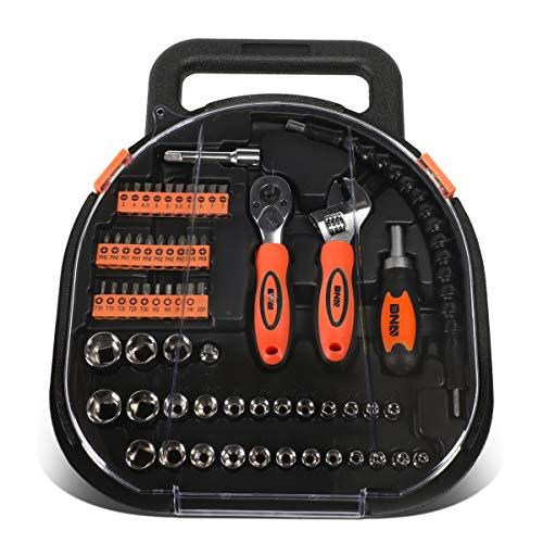 DNA Motoring TOOLS-00026 Orange 64 Pcs Handy Small Fastener Removal Tool Set Screwdriver Bits+Ratchet+Sockets