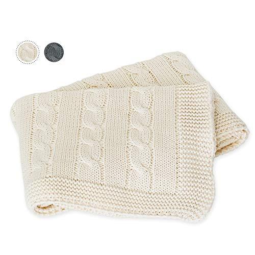 kids&me weiche Bio-Strickdecke für dein Baby - 100% Bio-Baumwolle (OEKO-TEX zertifiziert) - bestens geeignet: im Babybett, Kinderwagen, zum Kuscheln und Pucken 80x90cm