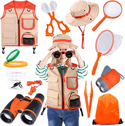 TEPSMIGO Kids Explorer Kit, 12 Pcs Outdoor Exploration Kit with Binoculars,Costume Vest, Safari Hat, Hand-Crank Flashlight, Magnifying Glass and Whistle,Camping Toy Gift for Boys Girls