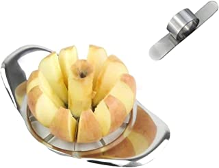 Apple Slicer Corer Cutter Wedger Divider Metal Chrome,with Bonus Steel Orange Peeler Parer Finger Type Blade Easy Open Cit...