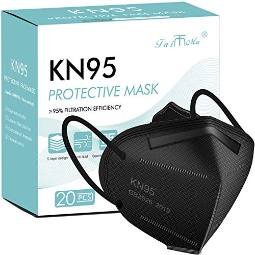 KN95 Face Masks for Protection Black,Filter Efficiency≥95%,Included on FDA EUA List, 5 Layers Cup Dust Mask, Breathable Protection Masks Against PM2.5 (20PCS)