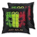 TISAGUER Juego de 2 Fundas de cojín 45x45cm,Jamaica Colorido en el Lema de la música Reggae Simplemente relájese Grunge gráficos Verdes,Decorativa Funda de Almohada Sofá Sillas Cama Throw Cojín