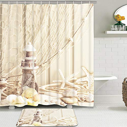 Claswcalor 2 Pcs Lighthouse Starfish Curtain Sets with Non-Slip Rugs, Marine Ocean Beach Curtain with 12 Hooks, Durable Waterproof Shower Curtain