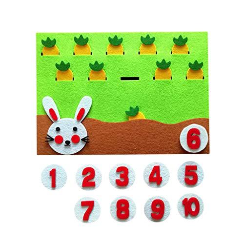 HEALLILY Conejo y Zanahoria Juego matemático Juguetes educativos Fieltro Equipo de enseñanza de jardín de Infantes para Juguetes Hechos a Mano Bricolaje