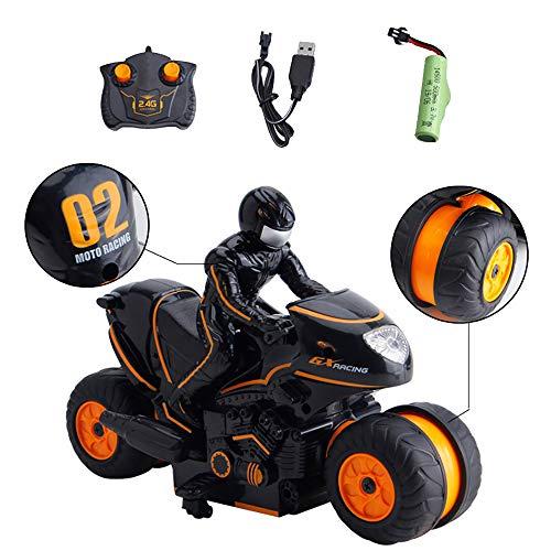 3T6B 2.4G RC Remote controlled motorcycle Stunt Car,Llantas doble cara voltea 360 ° alta velocidad rotación deriva, regalo para niños