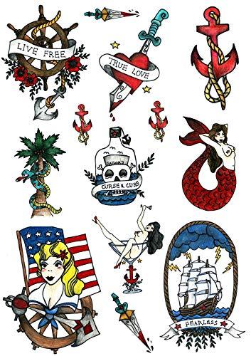 Matroos Zeeman Marine Tijdelijke Tattoo Set door Tatsy, Originele Coole Unieke Oldschool Design, Feestelijke Tatoeages, Nep Tattoo Body Art Cover Up voor Mannen