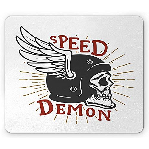 Biker Mouse Pad,Speed Demon Schriftzug Totenkopf mit geflügeltem Schutzhelm,rutschfestes Gummi Mousepad in Standardgröße,Zinnoberrot,Dunkelgrau und Dunkelgelb,30X25CM