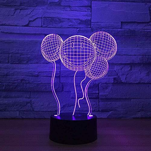 Luz de noche LED para niños Sonrisa 3D Globo Emoji Lámparas de ilusión óptica Lámpara de cabecera con control remoto 16 colores Cambiar lámparas de escritorio táctiles Juguetes de regalo de cumple